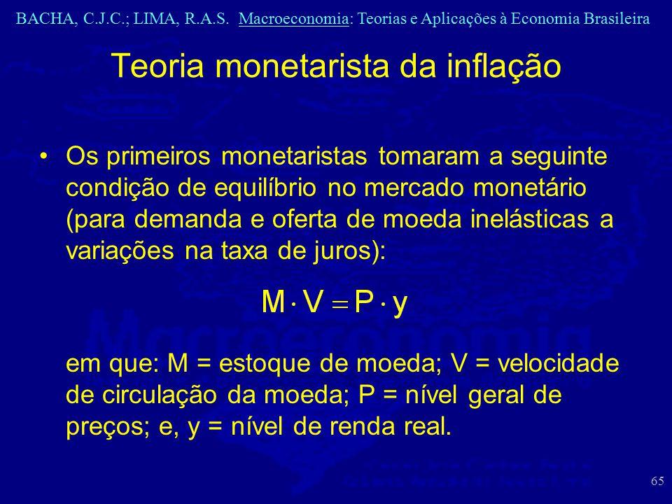 BACHA, C.J.C.; LIMA, R.A.S. Macroeconomia: Teorias e Aplicações à Economia Brasileira 65 Os primeiros monetaristas tomaram a seguinte condição de equi