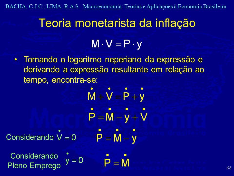 BACHA, C.J.C.; LIMA, R.A.S. Macroeconomia: Teorias e Aplicações à Economia Brasileira 68 Considerando Teoria monetarista da inflação Tomando o logarit
