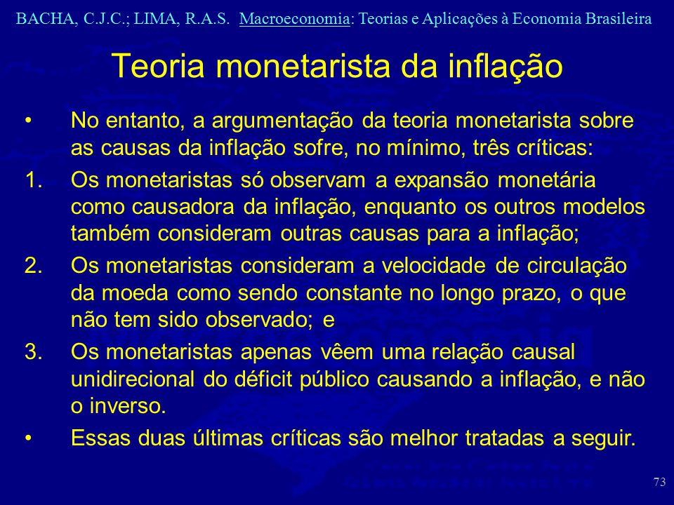 BACHA, C.J.C.; LIMA, R.A.S. Macroeconomia: Teorias e Aplicações à Economia Brasileira 73 Teoria monetarista da inflação No entanto, a argumentação da
