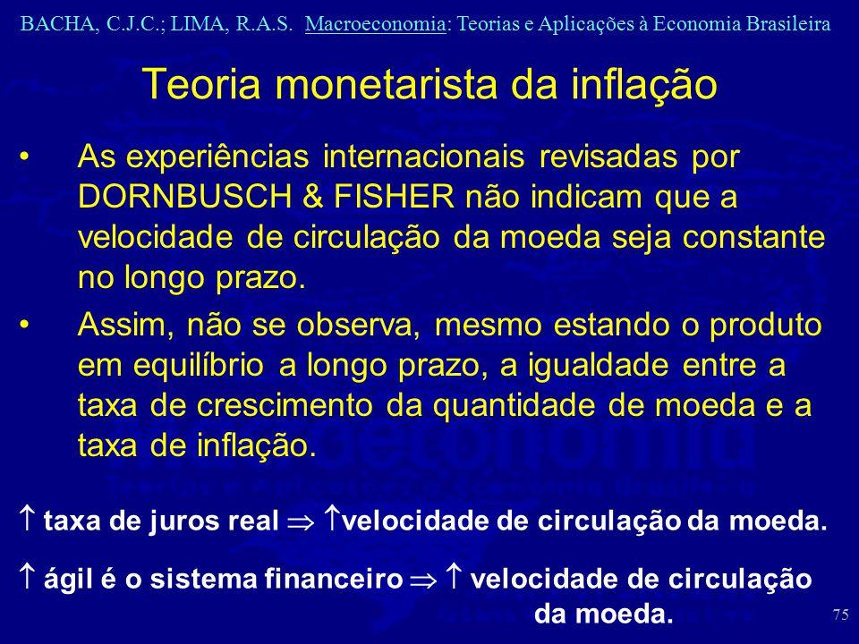 BACHA, C.J.C.; LIMA, R.A.S. Macroeconomia: Teorias e Aplicações à Economia Brasileira 75 Teoria monetarista da inflação As experiências internacionais