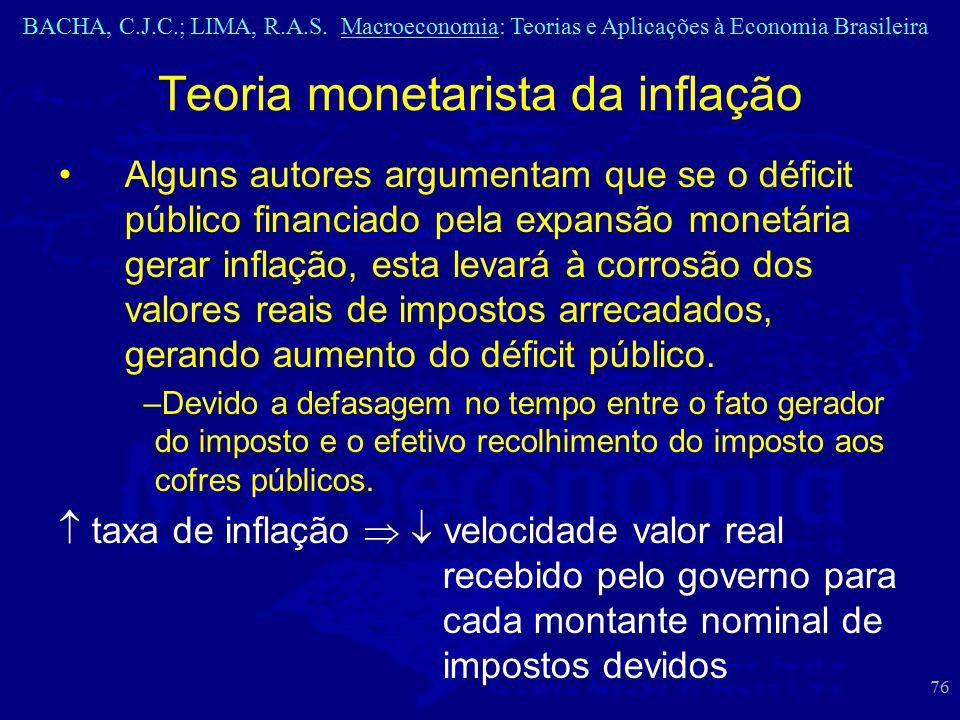 BACHA, C.J.C.; LIMA, R.A.S. Macroeconomia: Teorias e Aplicações à Economia Brasileira 76 Teoria monetarista da inflação Alguns autores argumentam que
