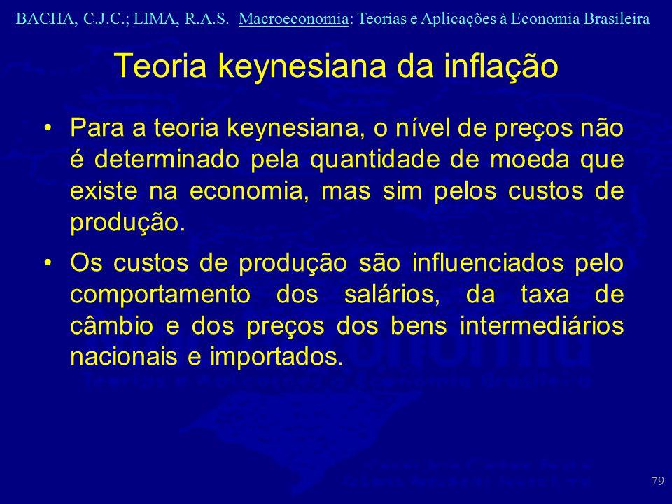 BACHA, C.J.C.; LIMA, R.A.S. Macroeconomia: Teorias e Aplicações à Economia Brasileira 79 Teoria keynesiana da inflação Para a teoria keynesiana, o nív