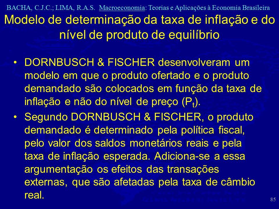 BACHA, C.J.C.; LIMA, R.A.S. Macroeconomia: Teorias e Aplicações à Economia Brasileira 85 Modelo de determinação da taxa de inflação e do nível de prod