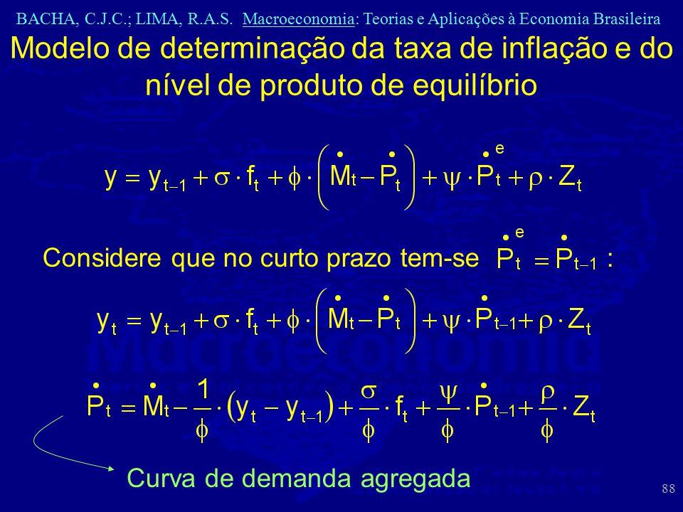 BACHA, C.J.C.; LIMA, R.A.S. Macroeconomia: Teorias e Aplicações à Economia Brasileira 88 Modelo de determinação da taxa de inflação e do nível de prod