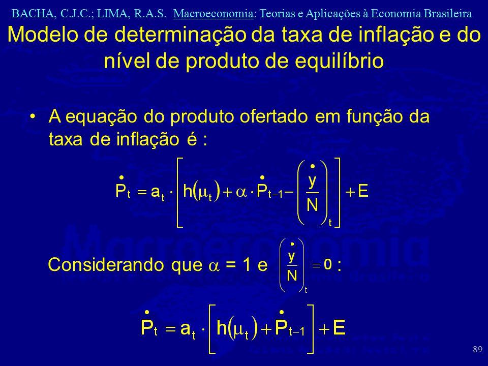 BACHA, C.J.C.; LIMA, R.A.S. Macroeconomia: Teorias e Aplicações à Economia Brasileira 89 Modelo de determinação da taxa de inflação e do nível de prod