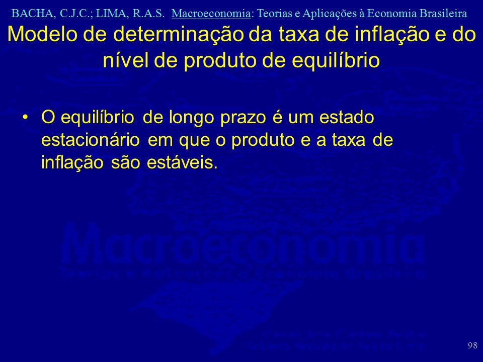 BACHA, C.J.C.; LIMA, R.A.S. Macroeconomia: Teorias e Aplicações à Economia Brasileira 98 Modelo de determinação da taxa de inflação e do nível de prod