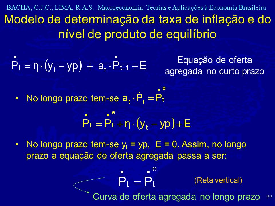 BACHA, C.J.C.; LIMA, R.A.S. Macroeconomia: Teorias e Aplicações à Economia Brasileira 99 Modelo de determinação da taxa de inflação e do nível de prod