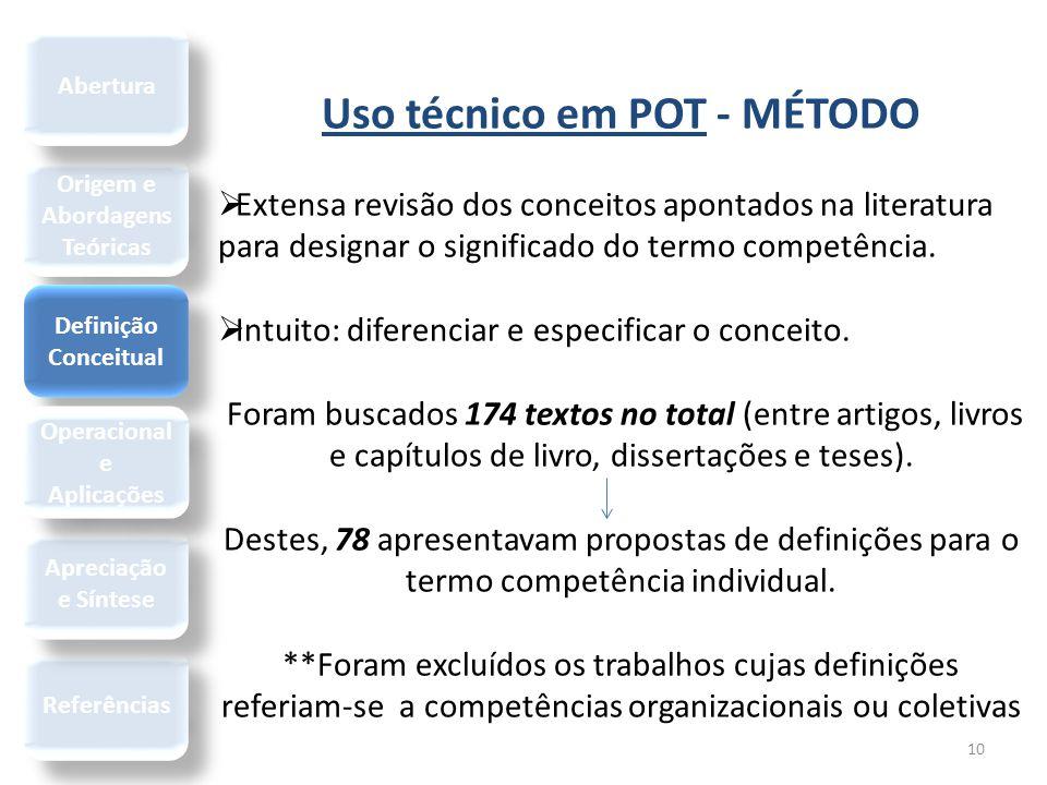 10 Uso técnico em POT - MÉTODO  Extensa revisão dos conceitos apontados na literatura para designar o significado do termo competência.  Intuito: di