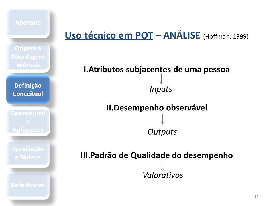 11 Uso técnico em POT – ANÁLISE (Hoffman, 1999) I.Atributos subjacentes de uma pessoa II.Desempenho observável III.Padrão de Qualidade do desempenho I