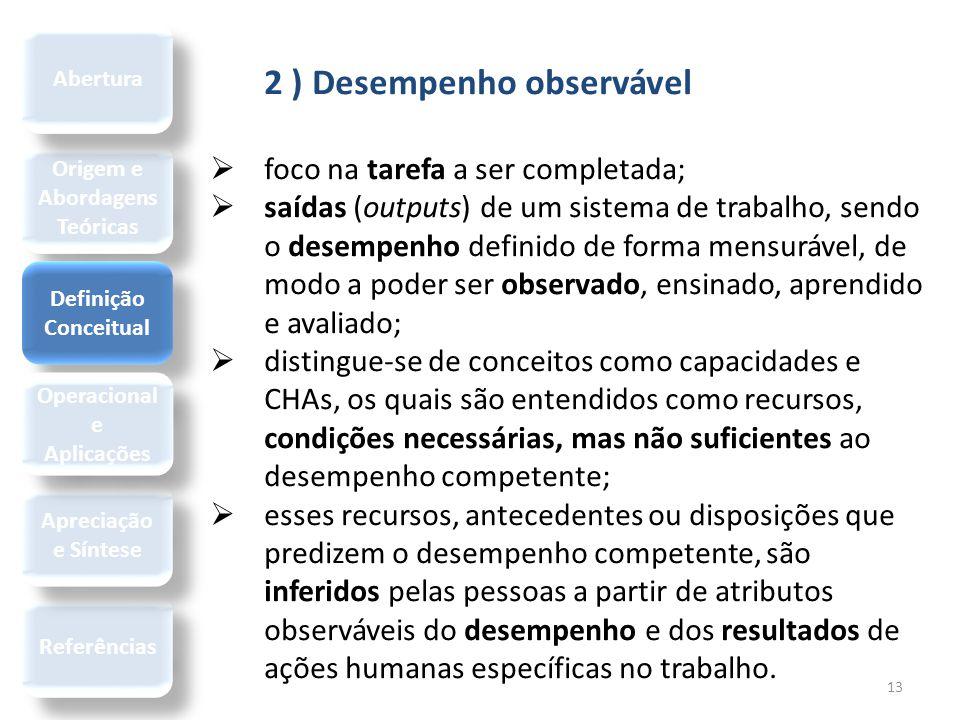 13 2 ) Desempenho observável  foco na tarefa a ser completada;  saídas (outputs) de um sistema de trabalho, sendo o desempenho definido de forma men
