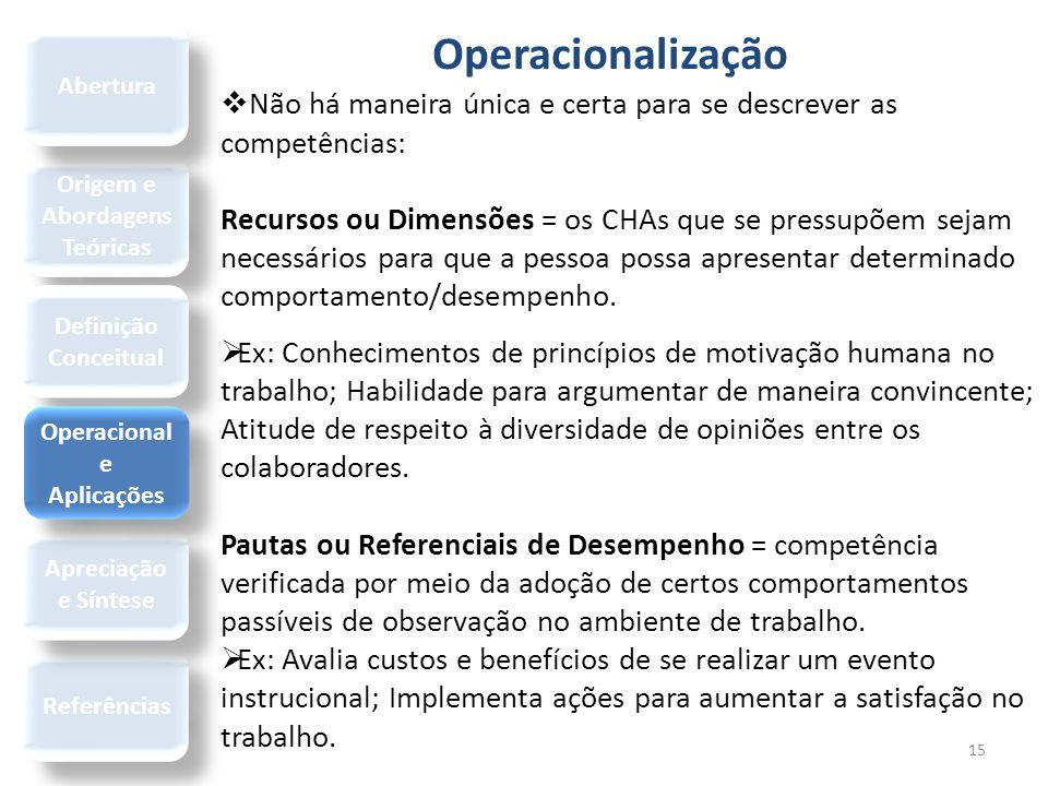 Operacionalização 15  Não há maneira única e certa para se descrever as competências: Recursos ou Dimensões = os CHAs que se pressupõem sejam necessá