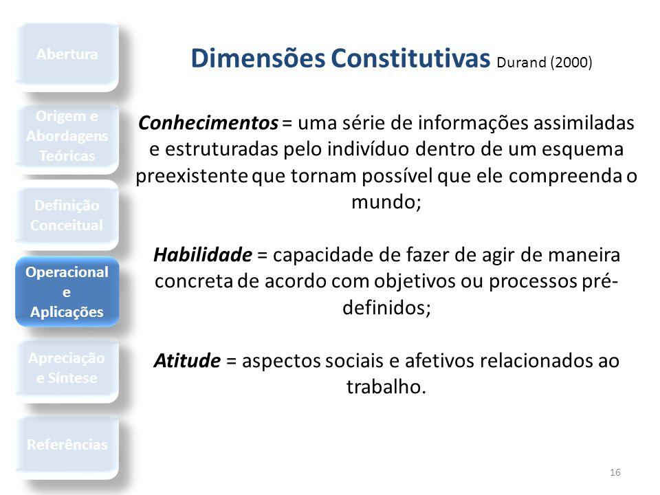 Dimensões Constitutivas Durand (2000) 16 Conhecimentos = uma série de informações assimiladas e estruturadas pelo indivíduo dentro de um esquema preex