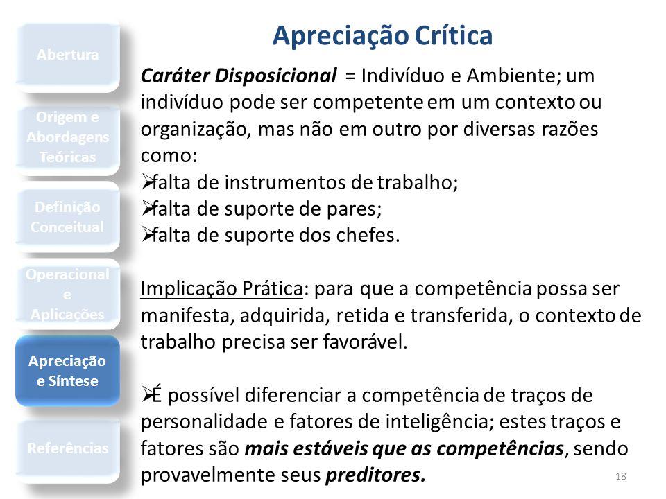 Apreciação Crítica 18 Origem e Abordagens Teóricas Referências Definição Conceitual Apreciação e Síntese Operacional e Aplicações Abertura Caráter Dis