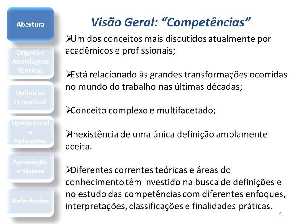 """Visão Geral: """"Competências"""" Origem e Abordagens Teóricas Referências Definição Conceitual Apreciação e Síntese Operacional e Aplicações Abertura 3  U"""