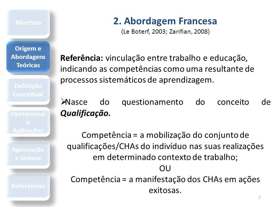 7 2. Abordagem Francesa (Le Boterf, 2003; Zarifian, 2008) Referência: vinculação entre trabalho e educação, indicando as competências como uma resulta