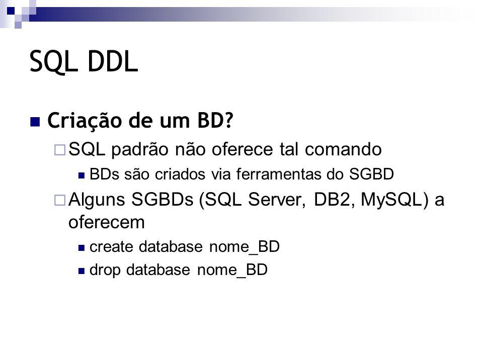 SQL DDL Comandos para definição de esquemas  – create table define a estrutura da tabela, suas restrições de integridade e cria uma tabela vazia  – alter table modifica a definição de uma tabela (I / E / A atributos; I / E RIs) RIs básicas:  – atributos chave não podem ser removidos  – atributos NOT NULL não podem ser inseridos  – drop table remove uma tabela com todas as suas tuplas não remove tabelas referenciadas por outras tabelas  sintaxe: drop table nome_tabela