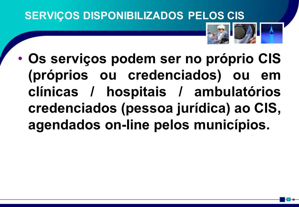 SERVIÇOS DISPONIBILIZADOS PELOS CIS Os serviços podem ser no próprio CIS (próprios ou credenciados) ou em clínicas / hospitais / ambulatórios credenciados (pessoa jurídica) ao CIS, agendados on-line pelos municípios.