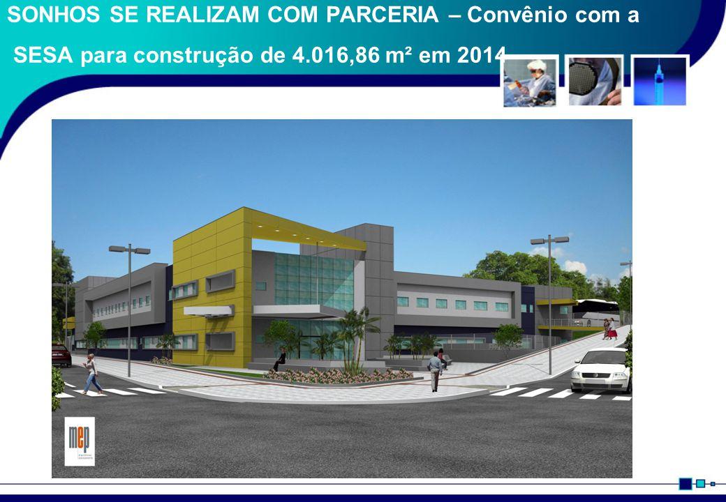 SONHOS SE REALIZAM COM PARCERIA – Convênio com a SESA para construção de 4.016,86 m² em 2014