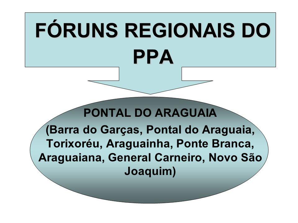 FÓRUNS REGIONAIS DO PPA PONTAL DO ARAGUAIA (Barra do Garças, Pontal do Araguaia, Torixoréu, Araguainha, Ponte Branca, Araguaiana, General Carneiro, Novo São Joaquim)