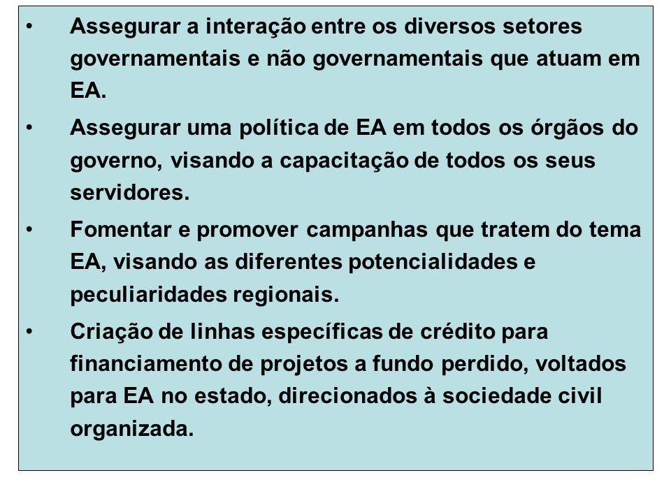 Assegurar a interação entre os diversos setores governamentais e não governamentais que atuam em EA.