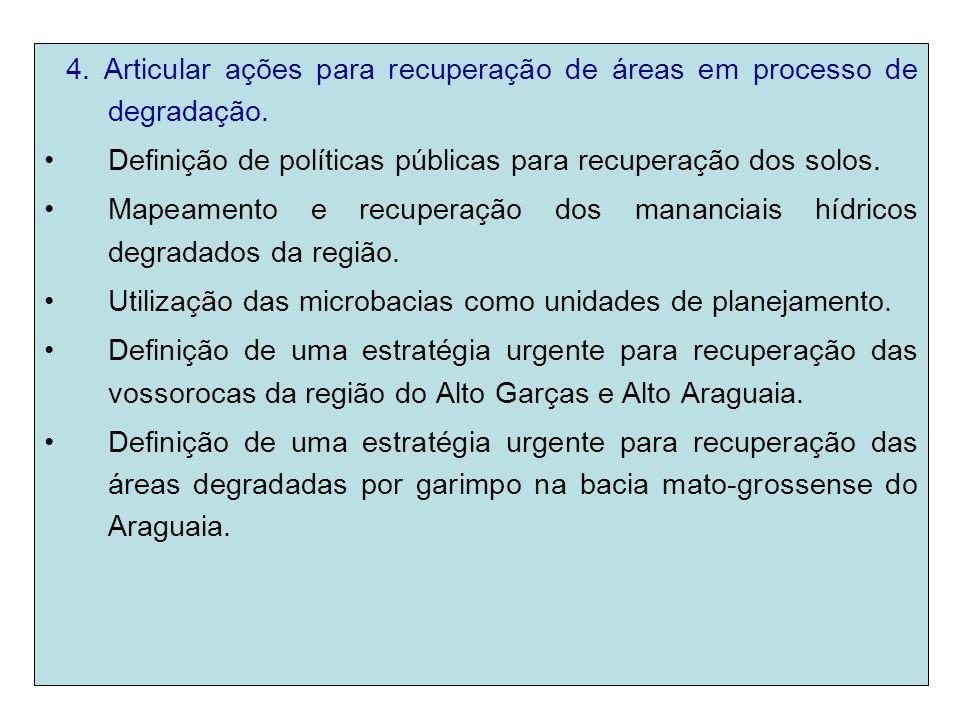 4. Articular ações para recuperação de áreas em processo de degradação.