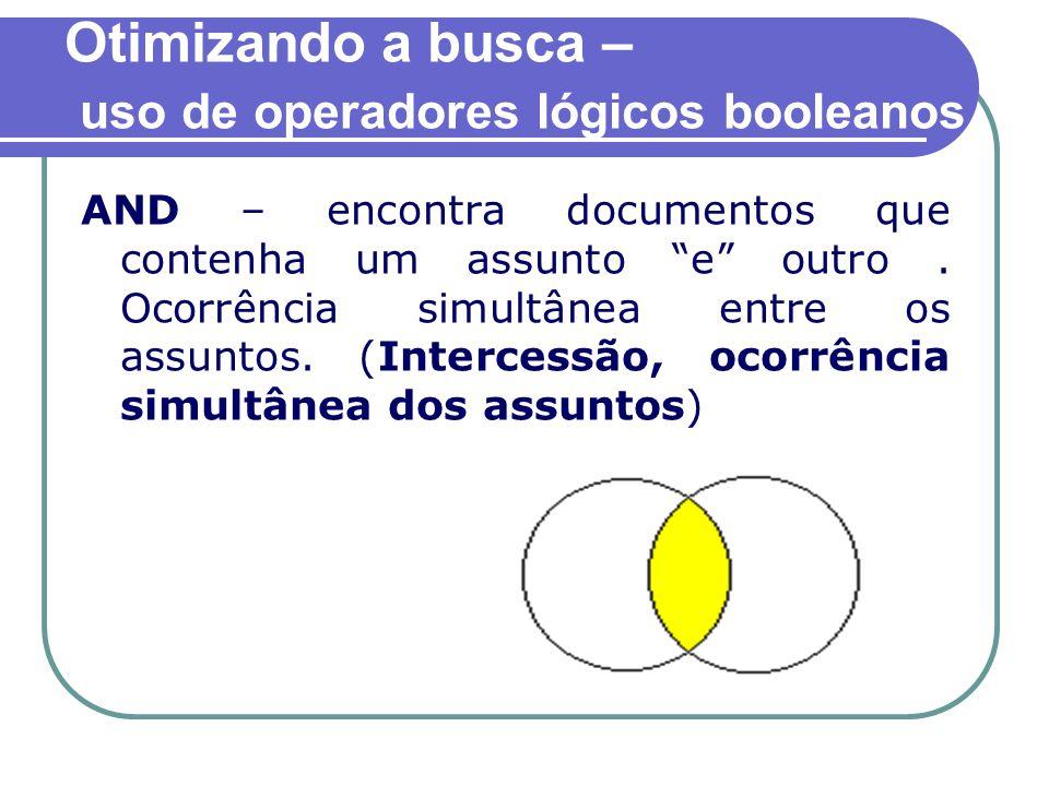 Otimizando a busca – uso de operadores lógicos booleanos AND – encontra documentos que contenha um assunto e outro.
