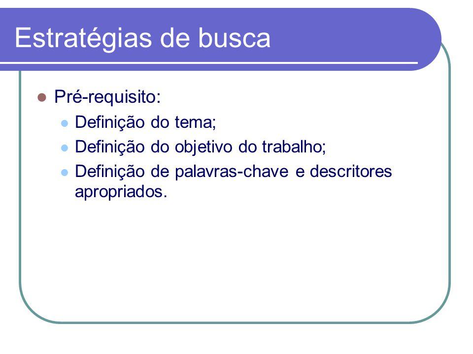 Estratégias de busca Pré-requisito: Definição do tema; Definição do objetivo do trabalho; Definição de palavras-chave e descritores apropriados.