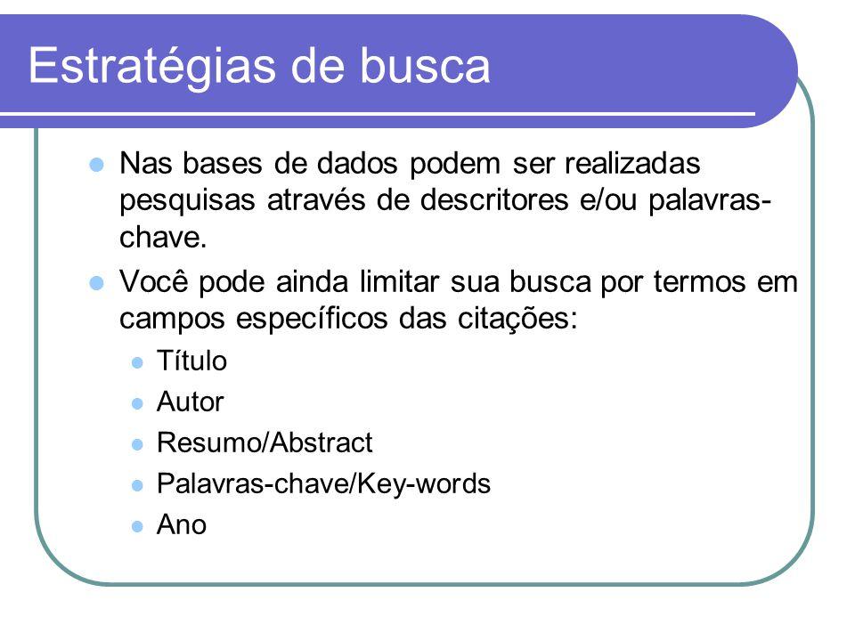 Estratégias de busca Nas bases de dados podem ser realizadas pesquisas através de descritores e/ou palavras- chave.