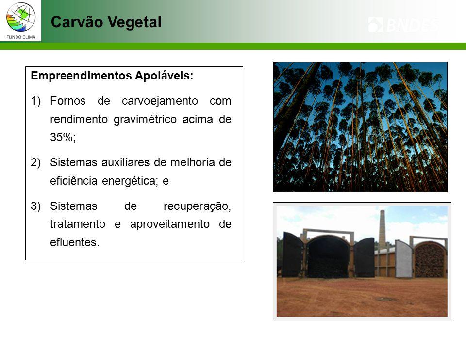 Carvão Vegetal Empreendimentos Apoiáveis: 1)Fornos de carvoejamento com rendimento gravimétrico acima de 35%; 2)Sistemas auxiliares de melhoria de eficiência energética; e 3)Sistemas de recuperação, tratamento e aproveitamento de efluentes.