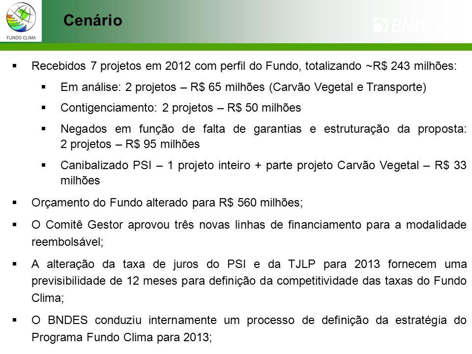 Cenário  Recebidos 7 projetos em 2012 com perfil do Fundo, totalizando ~R$ 243 milhões:  Em análise: 2 projetos – R$ 65 milhões (Carvão Vegetal e Transporte)  Contigenciamento: 2 projetos – R$ 50 milhões  Negados em função de falta de garantias e estruturação da proposta: 2 projetos – R$ 95 milhões  Canibalizado PSI – 1 projeto inteiro + parte projeto Carvão Vegetal – R$ 33 milhões  Orçamento do Fundo alterado para R$ 560 milhões;  O Comitê Gestor aprovou três novas linhas de financiamento para a modalidade reembolsável;  A alteração da taxa de juros do PSI e da TJLP para 2013 fornecem uma previsibilidade de 12 meses para definição da competitividade das taxas do Fundo Clima;  O BNDES conduziu internamente um processo de definição da estratégia do Programa Fundo Clima para 2013;