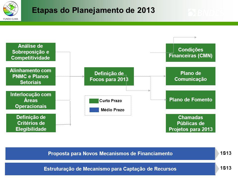 Etapas do Planejamento de 2013 Análise de Sobreposição e Competitividade Alinhamento com PNMC e Planos Setoriais Interlocução com Áreas Operacionais Definição de Focos para 2013 Condições Financeiras (CMN) Plano de Comunicação Plano de Fomento Chamadas Públicas de Projetos para 2013 Proposta para Novos Mecanismos de Financiamento Estruturação de Mecanismo para Captação de Recursos 1S13 Curto Prazo Médio Prazo Definição de Critérios de Elegibilidade
