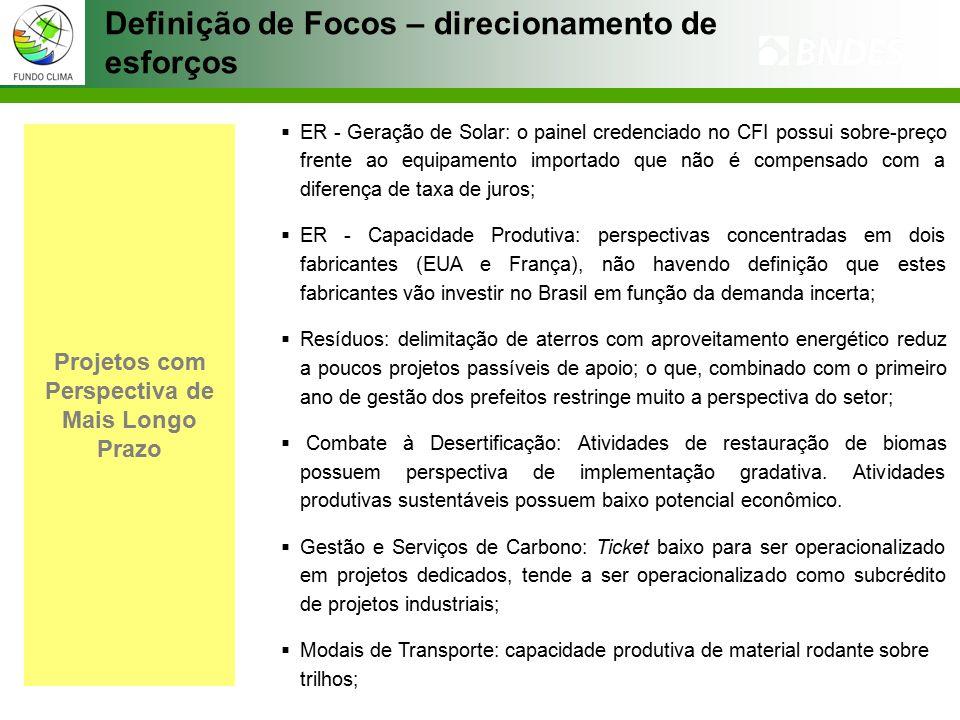 Projetos com Perspectiva de Mais Longo Prazo  ER - Geração de Solar: o painel credenciado no CFI possui sobre-preço frente ao equipamento importado que não é compensado com a diferença de taxa de juros;  ER - Capacidade Produtiva: perspectivas concentradas em dois fabricantes (EUA e França), não havendo definição que estes fabricantes vão investir no Brasil em função da demanda incerta;  Resíduos: delimitação de aterros com aproveitamento energético reduz a poucos projetos passíveis de apoio; o que, combinado com o primeiro ano de gestão dos prefeitos restringe muito a perspectiva do setor;  Combate à Desertificação: Atividades de restauração de biomas possuem perspectiva de implementação gradativa.