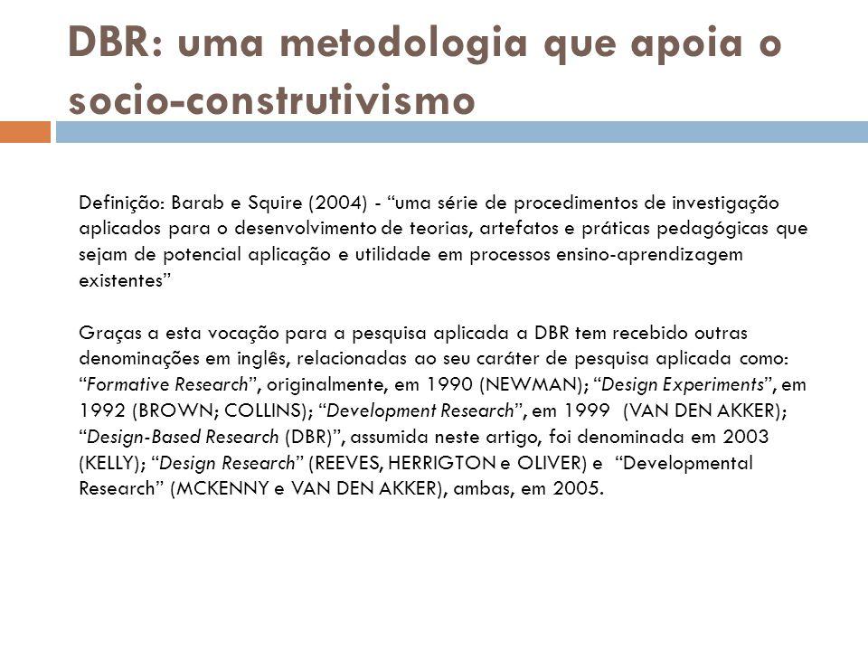 """DBR: uma metodologia que apoia o socio-construtivismo Definição: Barab e Squire (2004) - """"uma série de procedimentos de investigação aplicados para o"""