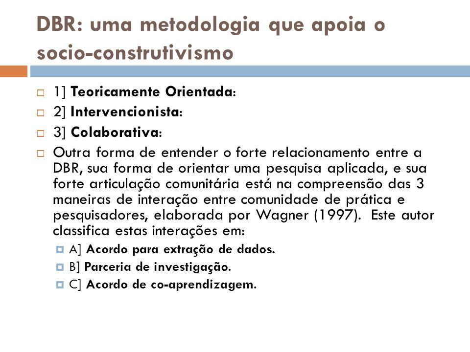 DBR: uma metodologia que apoia o socio-construtivismo  1] Teoricamente Orientada:  2] Intervencionista:  3] Colaborativa:  Outra forma de entender
