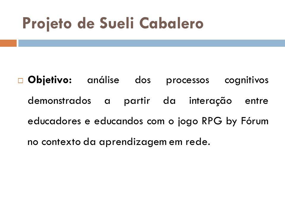 Projeto de Sueli Cabalero  Resultado: o referido jogo constitui uma ferramenta pedagógica que pode ser utilizada para trabalhar as diversas áreas do conhecimento, assim como nos diferentes níveis de escolaridade.