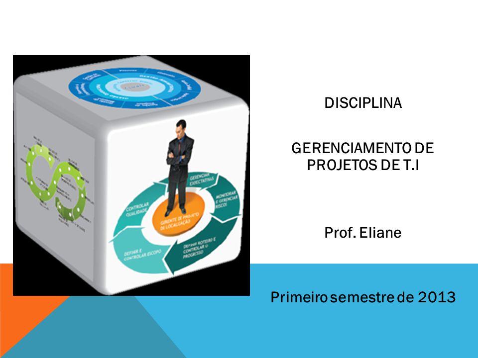 DISCIPLINA GERENCIAMENTO DE PROJETOS DE T.I Prof. Eliane Primeiro semestre de 2013