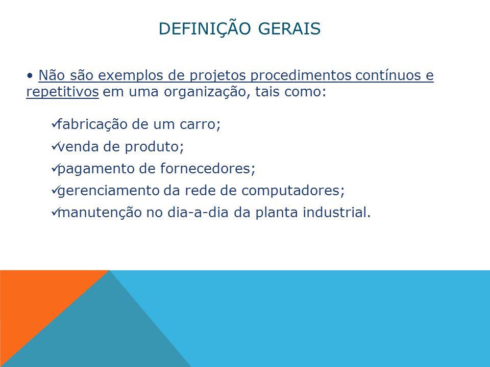 DEFINIÇÃO GERAIS Não são exemplos de projetos procedimentos contínuos e repetitivos em uma organização, tais como: fabricação de um carro; venda de produto; pagamento de fornecedores; gerenciamento da rede de computadores; manutenção no dia-a-dia da planta industrial.