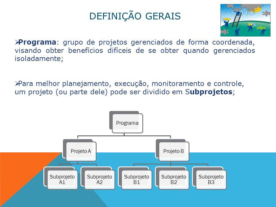 DEFINIÇÃO GERAIS  Programa: grupo de projetos gerenciados de forma coordenada, visando obter benefícios difíceis de se obter quando gerenciados isoladamente;  Para melhor planejamento, execução, monitoramento e controle, um projeto (ou parte dele) pode ser dividido em Subprojetos; ProgramaProjeto A Subprojeto A1 Subprojeto A2 Projeto B Subprojeto B1 Subprojeto B2 Subprojeto B3
