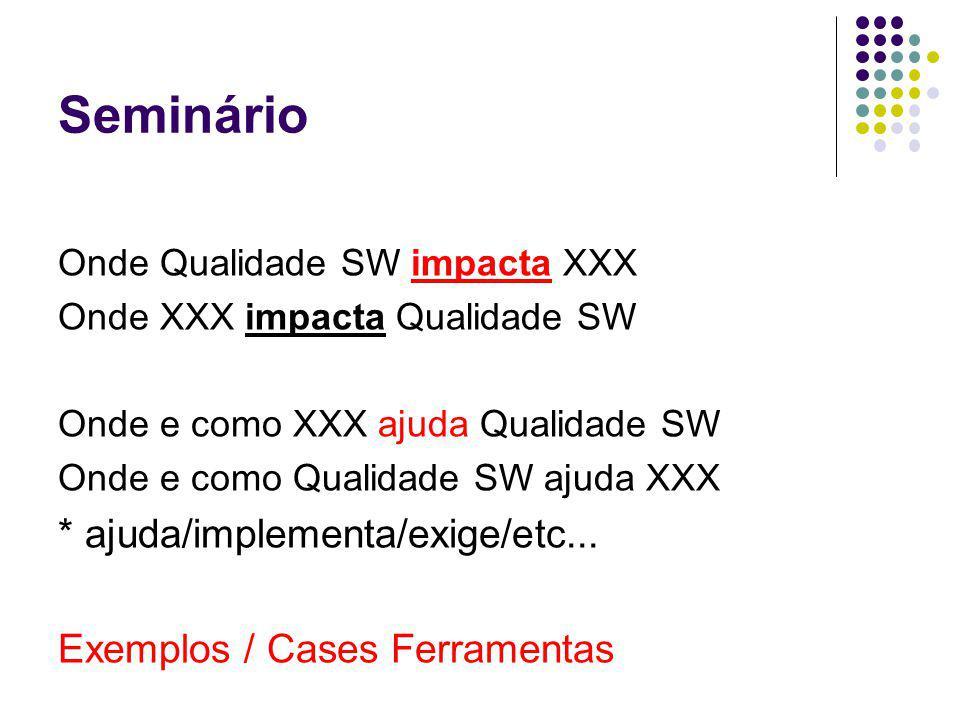 Seminário Onde Qualidade SW impacta XXX Onde XXX impacta Qualidade SW Onde e como XXX ajuda Qualidade SW Onde e como Qualidade SW ajuda XXX * ajuda/implementa/exige/etc...