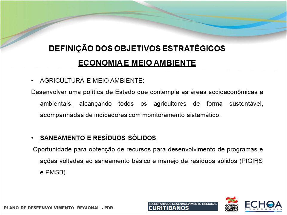 PLANO DE DESEENVOLVIMENTO REGIONAL - PDR DEFINIÇÃO DOS OBJETIVOS ESTRATÉGICOS ECONOMIA E MEIO AMBIENTE AGRICULTURA E MEIO AMBIENTE: Desenvolver uma po