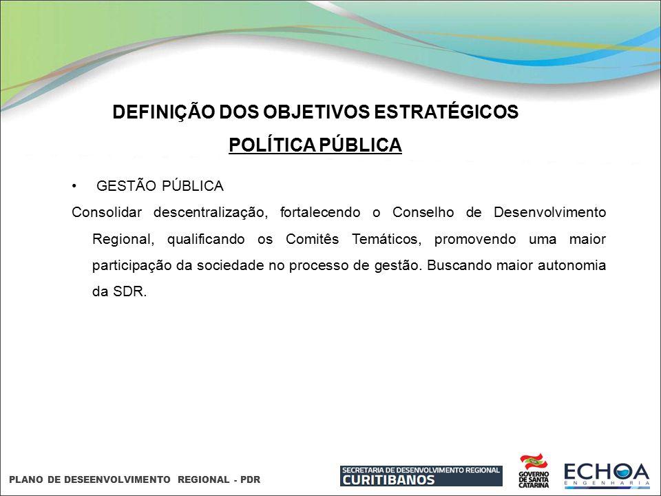 PLANO DE DESEENVOLVIMENTO REGIONAL - PDR DEFINIÇÃO DOS OBJETIVOS ESTRATÉGICOS POLÍTICA PÚBLICA GESTÃO PÚBLICA Consolidar descentralização, fortalecend