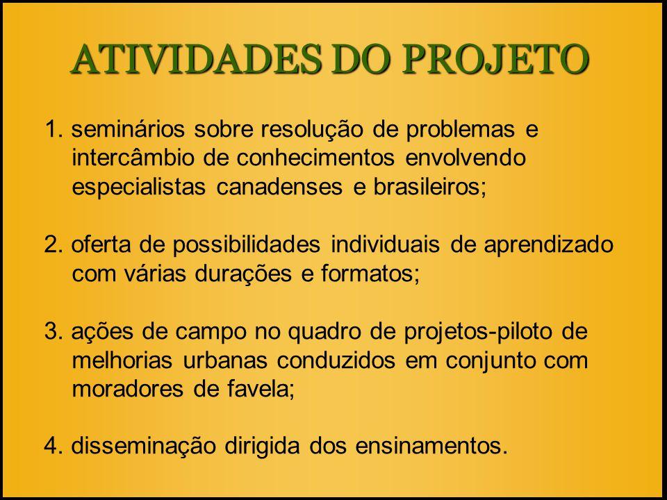 ATIVIDADES DO PROJETO 1. seminários sobre resolução de problemas e intercâmbio de conhecimentos envolvendo especialistas canadenses e brasileiros; 2.