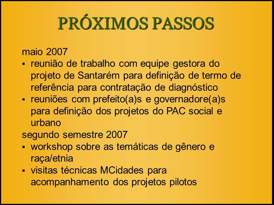 PRÓXIMOS PASSOS maio 2007  reunião de trabalho com equipe gestora do projeto de Santarém para definição de termo de referência para contratação de di