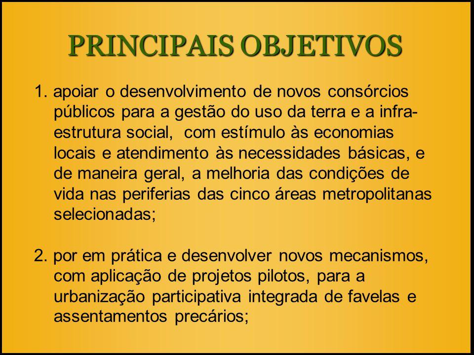 PRINCIPAIS OBJETIVOS 1. apoiar o desenvolvimento de novos consórcios públicos para a gestão do uso da terra e a infra- estrutura social, com estímulo
