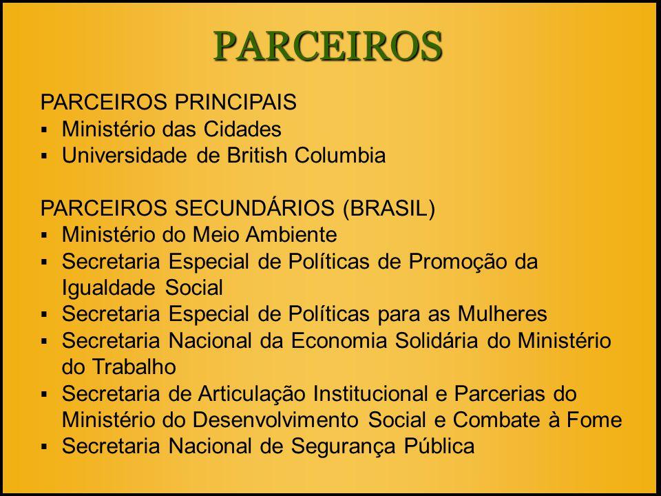 PARCEIROS PARCEIROS PRINCIPAIS  Ministério das Cidades  Universidade de British Columbia PARCEIROS SECUNDÁRIOS (BRASIL)  Ministério do Meio Ambient