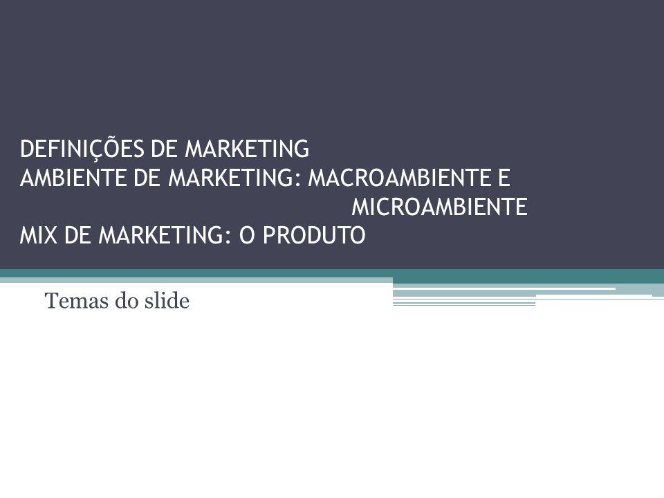 DEFINIÇÕES DE MARKETING AMBIENTE DE MARKETING: MACROAMBIENTE E MICROAMBIENTE MIX DE MARKETING: O PRODUTO Temas do slide