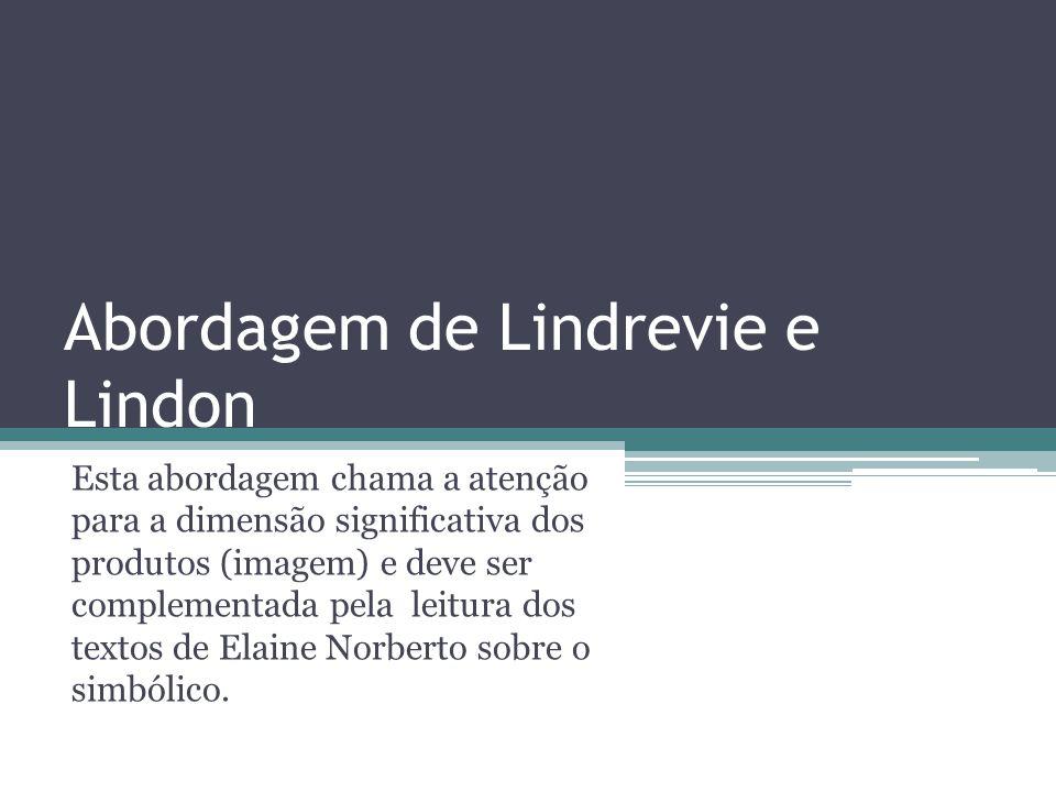 Abordagem de Lindrevie e Lindon Esta abordagem chama a atenção para a dimensão significativa dos produtos (imagem) e deve ser complementada pela leitu