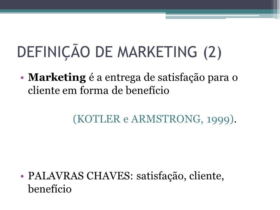 DEFINIÇÃO DE MARKETING (2) Marketing é a entrega de satisfação para o cliente em forma de benefício (KOTLER e ARMSTRONG, 1999). PALAVRAS CHAVES: satis