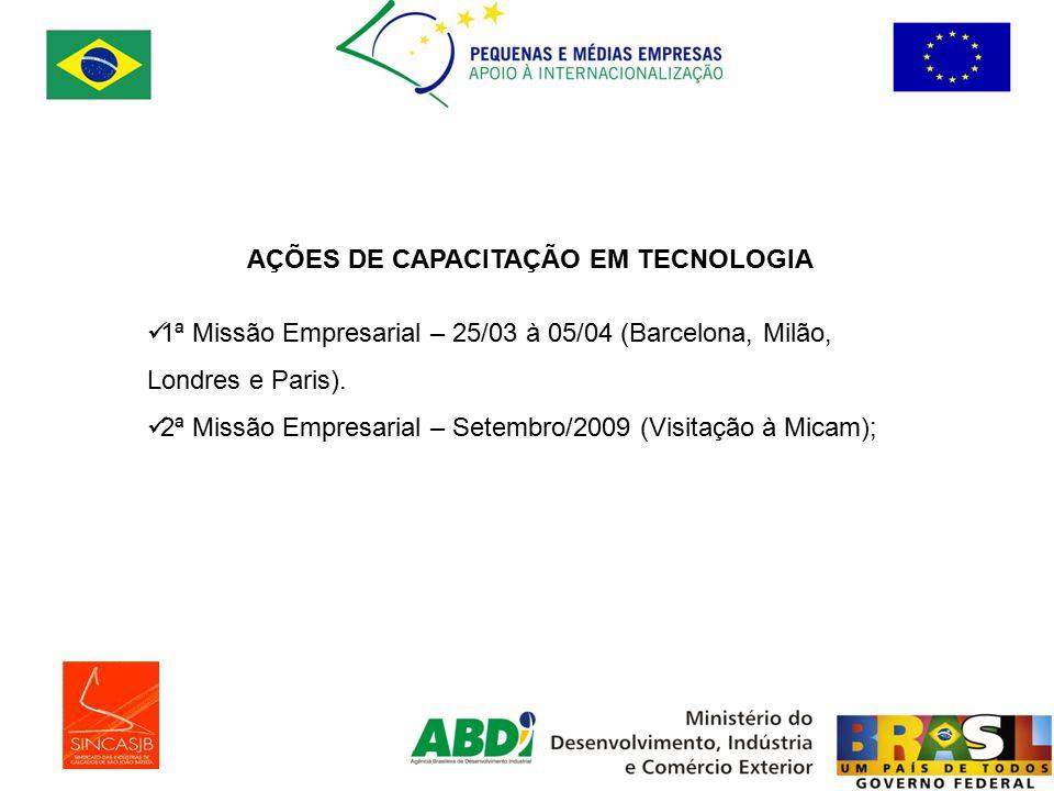 AÇÕES DE CAPACITAÇÃO EM TECNOLOGIA 1ª Missão Empresarial – 25/03 à 05/04 (Barcelona, Milão, Londres e Paris).