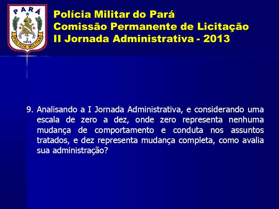 Polícia Militar do Pará Comissão Permanente de Licitação II Jornada Administrativa - 2013 9. Analisando a I Jornada Administrativa, e considerando uma